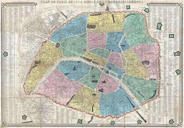 Plan de Paris en 1864 Divisé en 20 Arrondissements.
