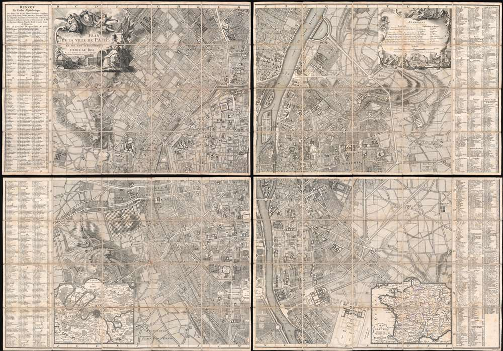 1767 Jaillot Large-Scale Map of Paris (unrecorded state!)
