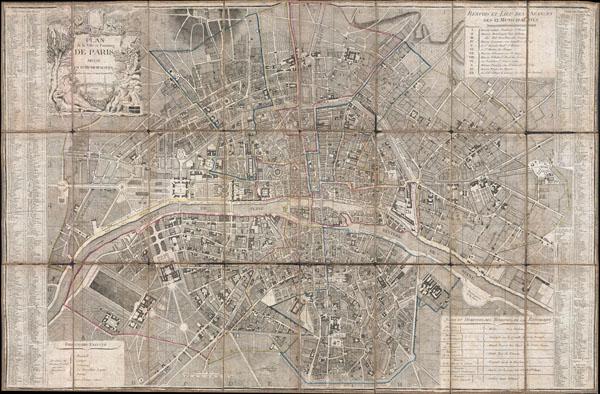 Plan de la Ville et Faubourg de Paris Divise en 12 Municipalites.