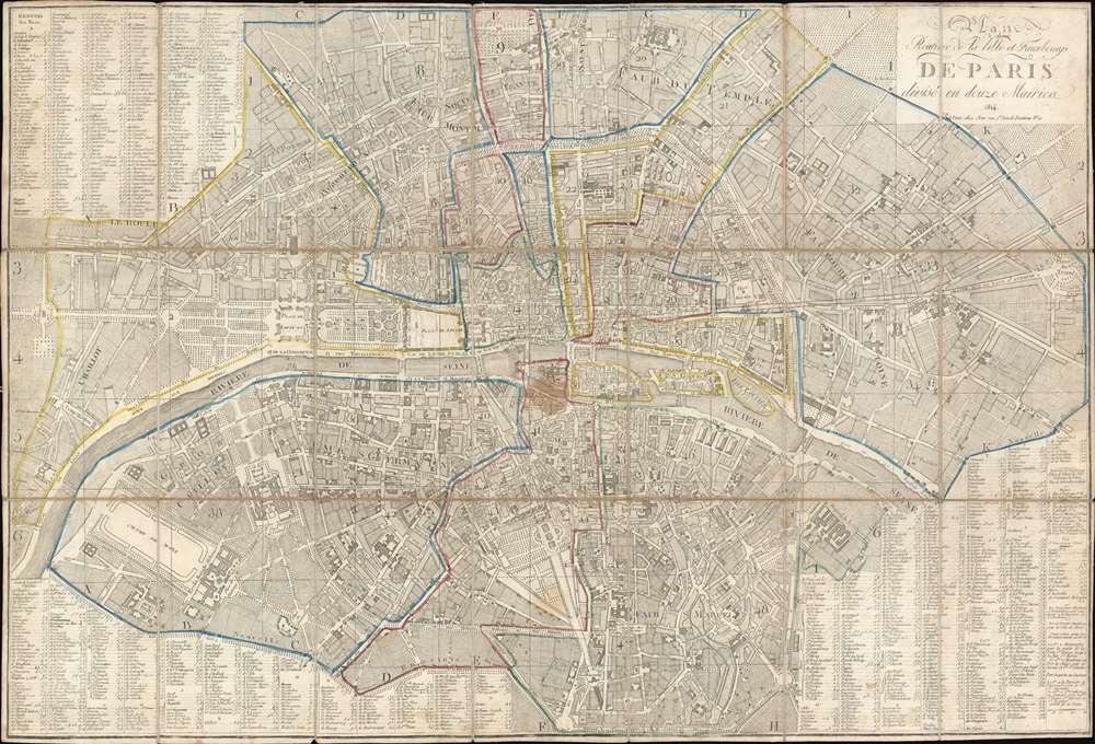 Plan Routier de la Ville et Faubourgs de Paris divisé en douze Mairies. - Main View