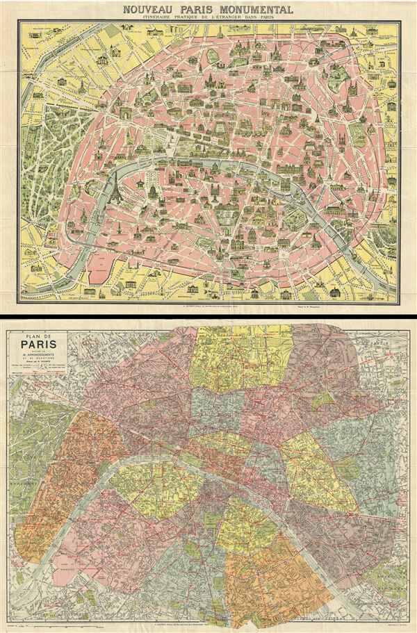 Nouveau Paris Monumental Itieraire Pratique de l'Etranger dans Paris.  Plan de Paris Divise en 20 Arrondissements. - Main View