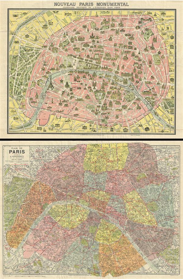 Nouveau Paris Monumental Itieraire Pratique de l'Etranger dans Paris.  Plan de Paris Divise en 20 Arrondissements.