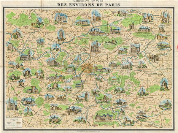 Monuments et Vues des Environs de Paris Geographicus Rare – Map of Paris with Monuments