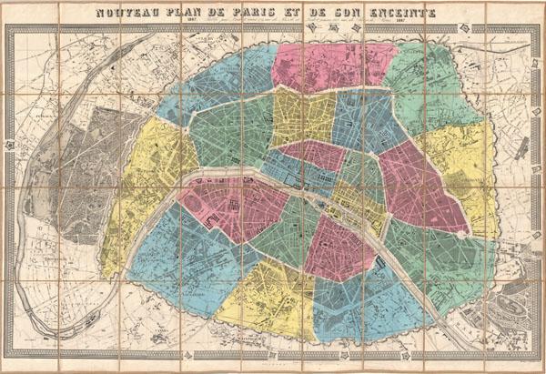 Nouveau Plan de Paris et de Son Enceinte Geographicus Rare – Plan De Paris Map