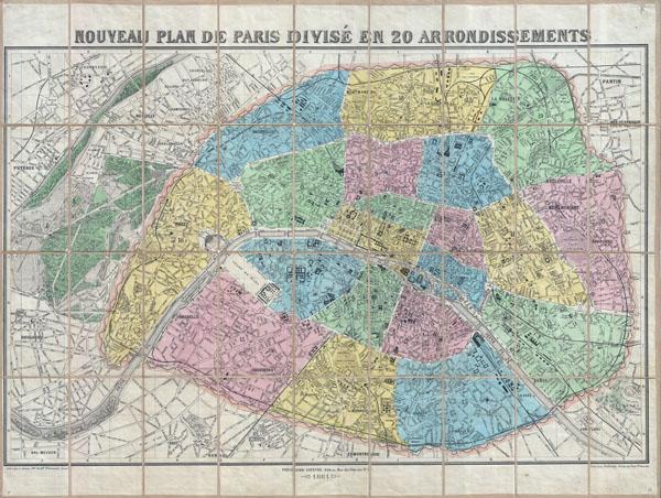 Nouveau Plan de Paris Divise en 20 Arrondissements.