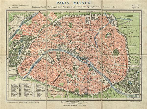 Paris Mignon Indiquant les Boulevards, Avenues, Rues principales, Monuments, Eglises, Mairies et Chemins de fer.