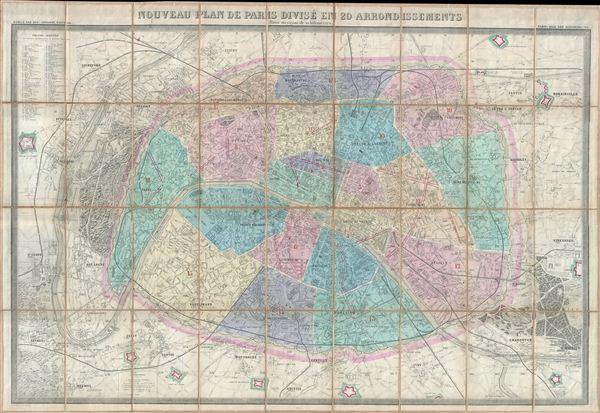 Nouveau Plan de Paris Divise en 20 Arrondissements Dans un rayon de 10 kilometres.
