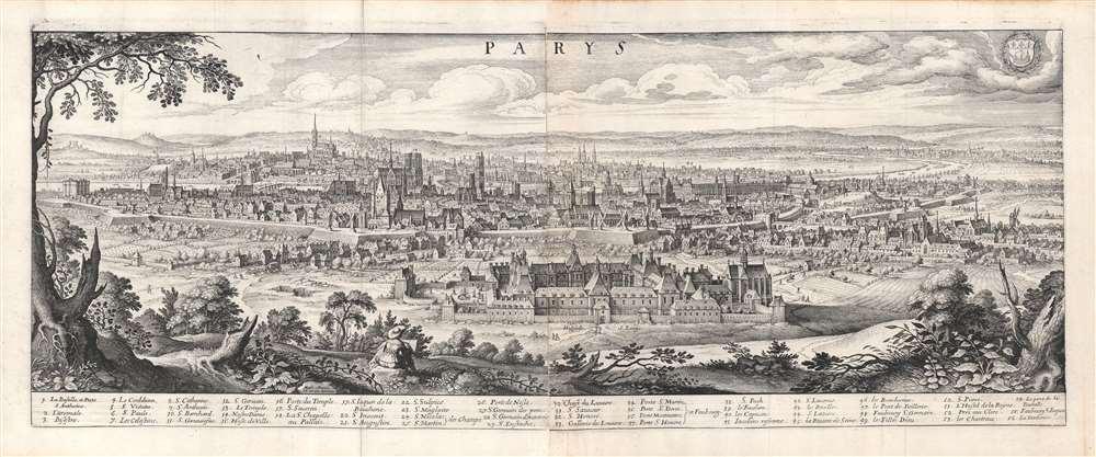 1638 Merian View of Paris, France