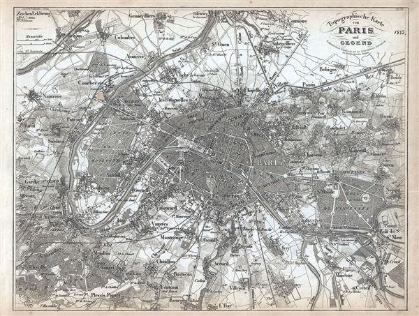 Topographische Karte von Paris und Gegend.