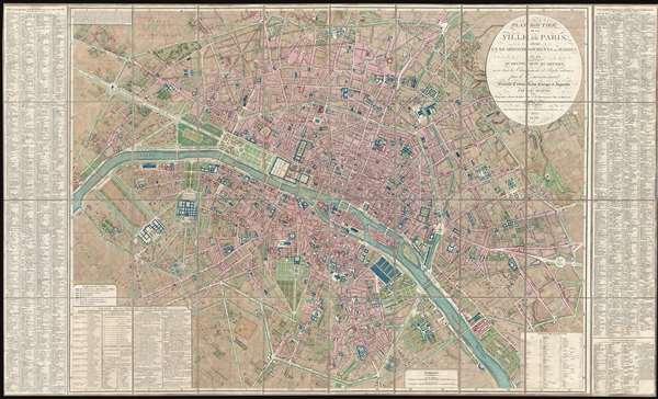 Plan Routier de la Ville de Paris, divise en XII Arrondissements ou Mairies et en Quarante Huit Quartiers, avec tous le Changements et Projets ordonnes par le Gouvernement.