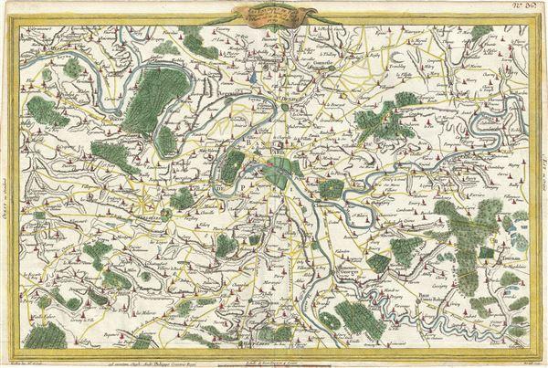 Les Environs De Paris assujettis a 18 lieues de l'Est a l'Ouest sur 12 du Sud au Nord.