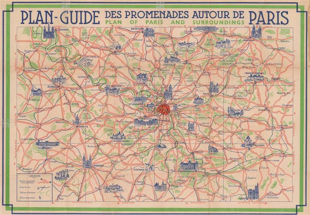 Plan-Guide Monuments de Paris. Pictorial Plan of Paris. / Plan-Guide des Promenades Autour de Paris. Plan of Paris and Surroundings. - Alternate View 1