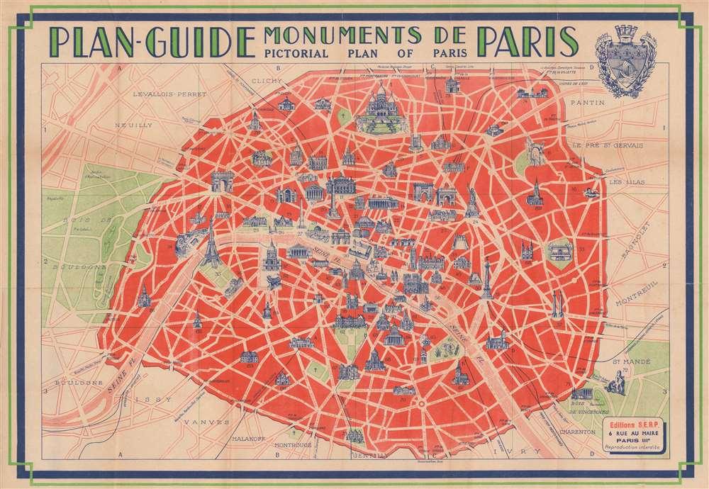 Plan-Guide Monuments de Paris. Pictorial Plan of Paris. / Plan-Guide des Promenades Autour de Paris. Plan of Paris and Surroundings. - Main View