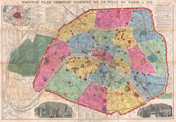 Nouveau Plan Complet Illustre de la Ville de Paris en 1889. - Main View