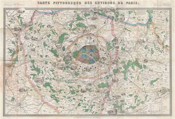 Carte Pittoresque Des Environs de Paris. - Main View