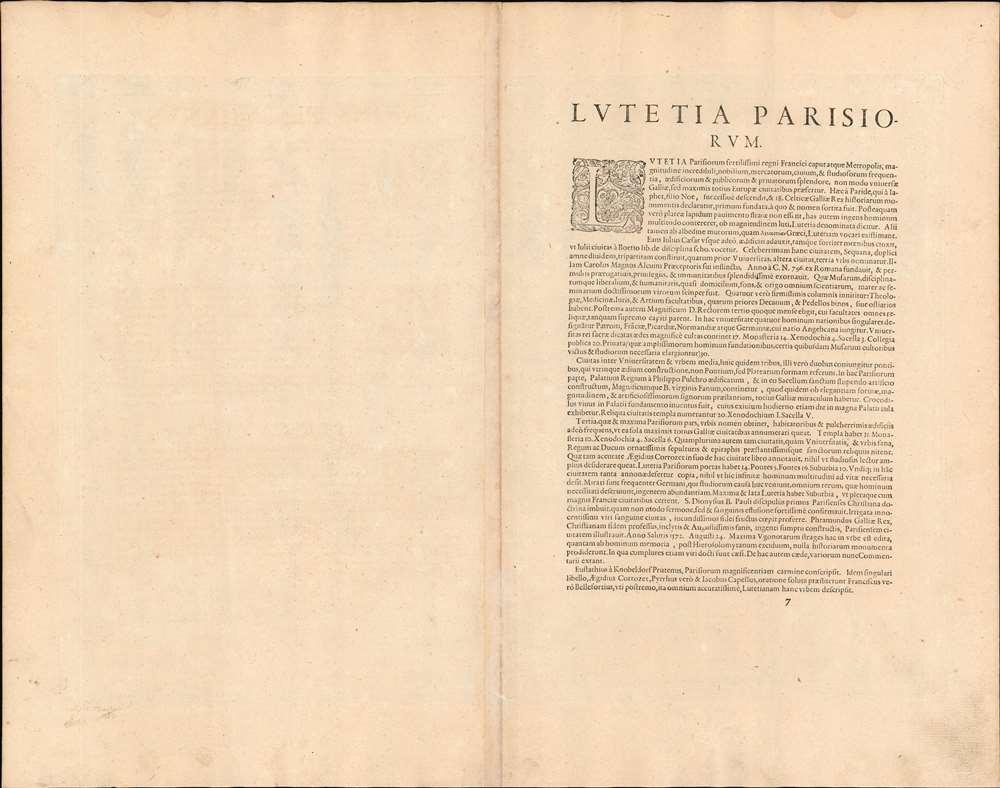 Lutetia vulgari Nomine Paris, Urbs Galliae Maxima, Sequana Navigabili Flumine Irrigatur... - Alternate View 1