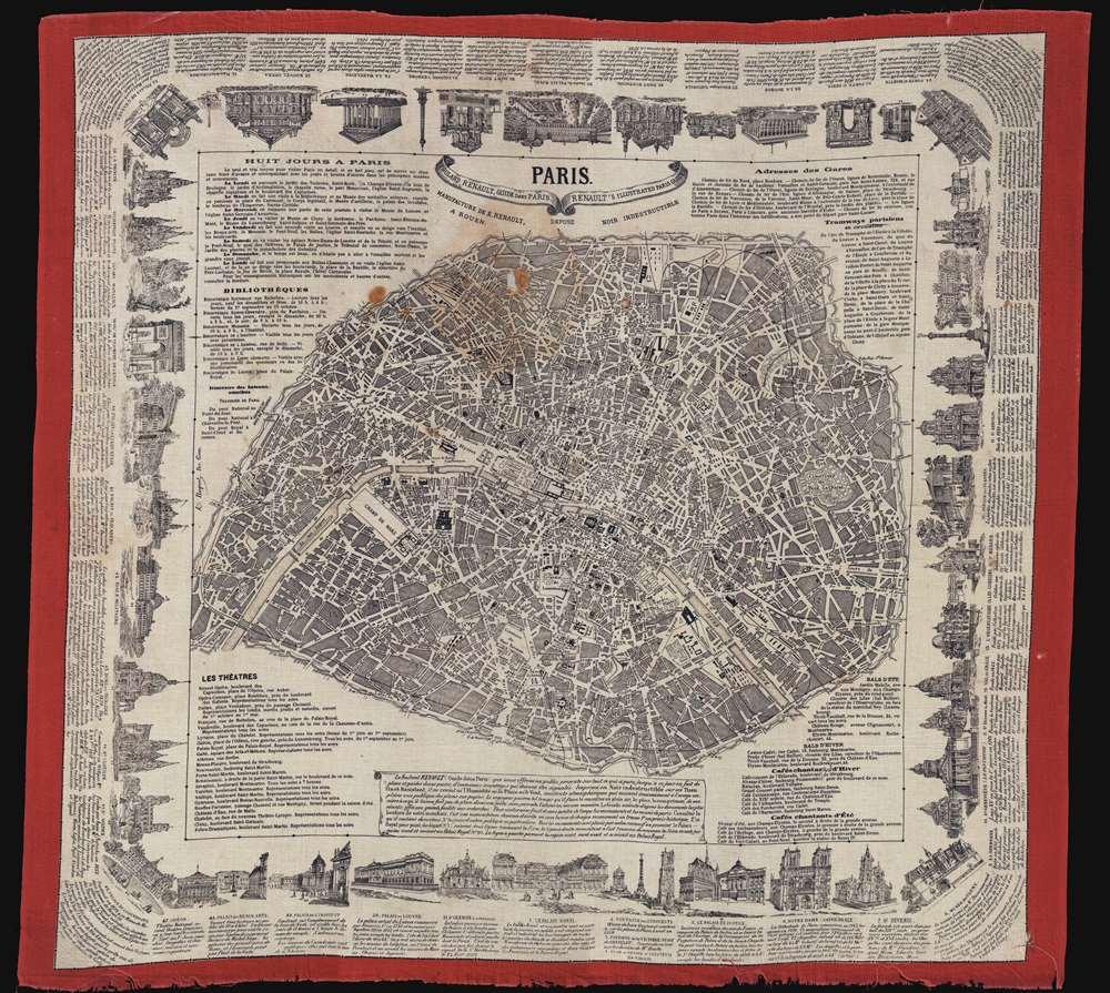 Paris.  Foulard Renault, Guide dans Paris.  Renaut's Illustrated Paris Guide. - Main View