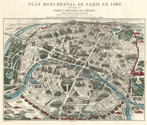 Plan monumental de Paris en 1898.