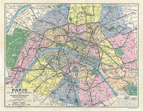 Paris Plan d'Ensemble par Arrondissements Metropolitain.
