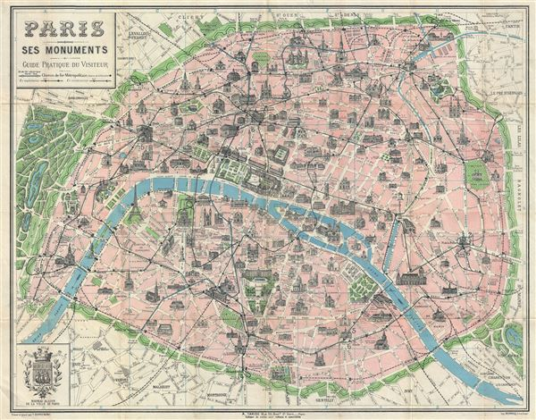 Paris Ses Monuments Geographicus Rare Antique Maps - Paris map monuments