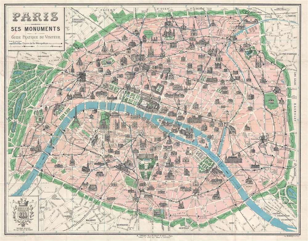 1925 Borremans Pictorial Map of Paris, France w/ Monuments