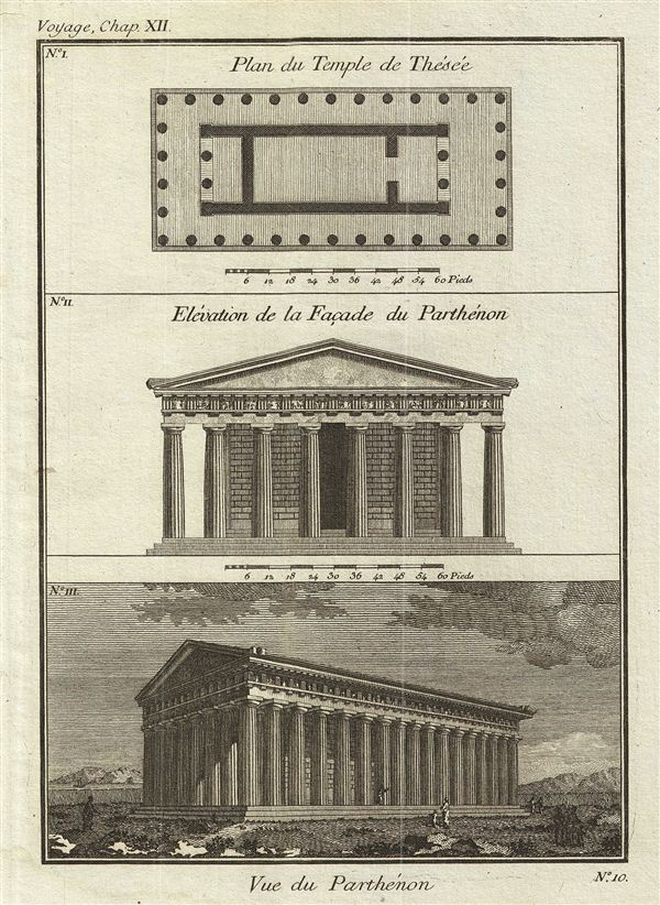 Plan du Temple de Thesee.  Elevation de la Façade du Parthenon.  Vue du Parthenon.