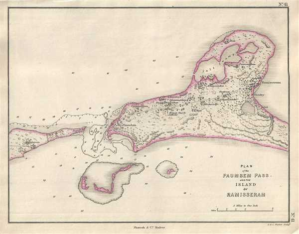 Plan of the Paumbem Pass and the Island of Ramisseram. - Main View