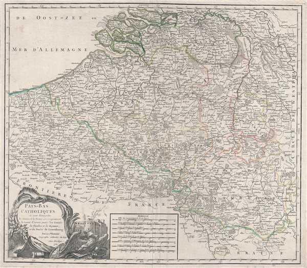 Pays-Bas Catholiques où sont distinguées les Limites de la France qui comprennent le Comté d'Artois, partie des Comtés de Glandre et de Haynaut, et du Duché de Luxembourg. Par Sr. Robert Geographe ordinaire du Roy. Avec Privilege.