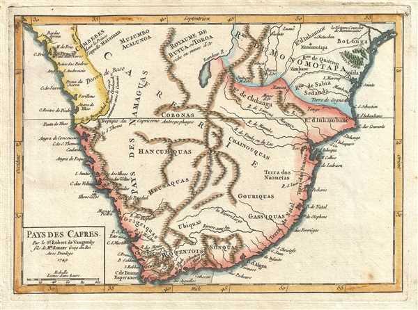 Pays des Cafres. Par le Sr. Robert de Vaugondy fils de Mr. Robert Geog du Roi.