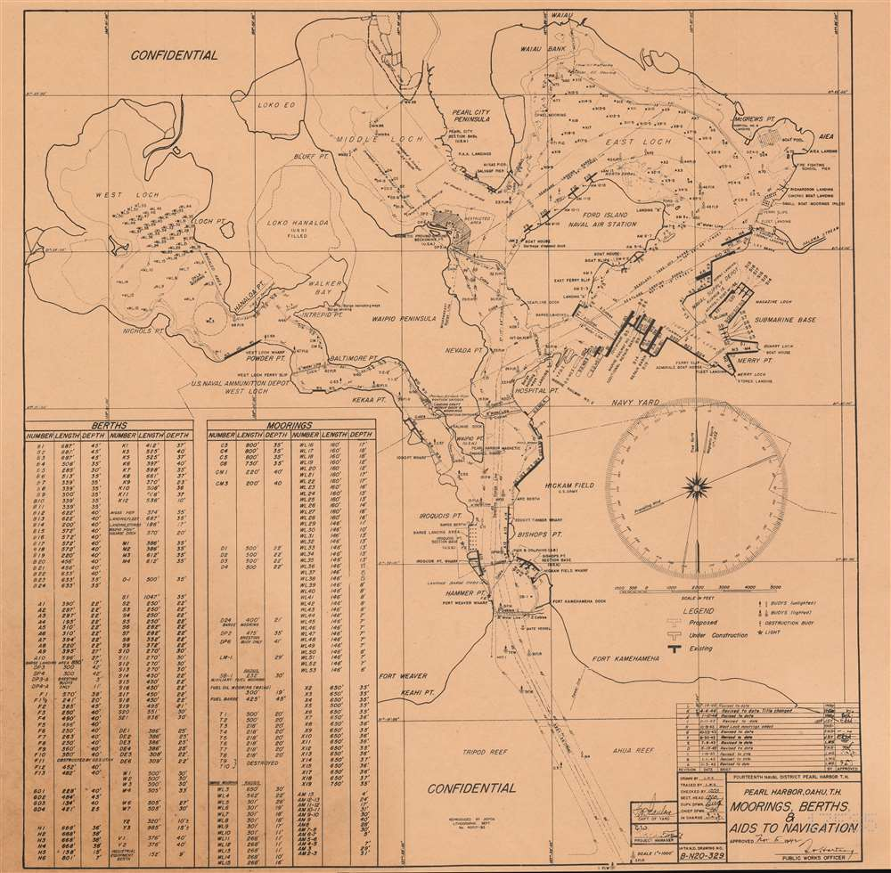 Pearl Harbor, Oahu, T.H. Moorings, Berths, and Aids to Navigation. - Main View