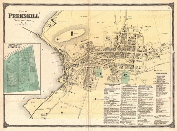 1867 Beers Map of Peekskill, Westchester, New York