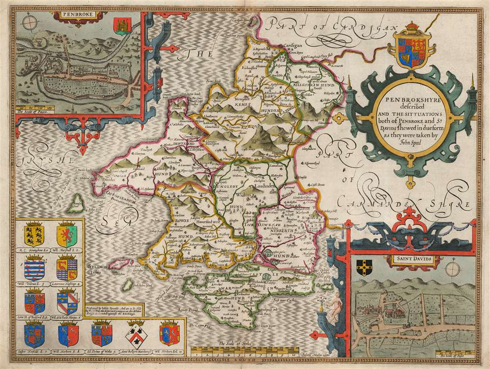 1662 John Speed County Map of Pembrokeshire (Rare Rea Issue)