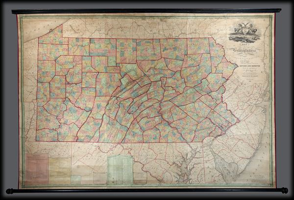 Map Of Pennsylvania, constructed from the County Surveys authorized by the State; and other original Documents.