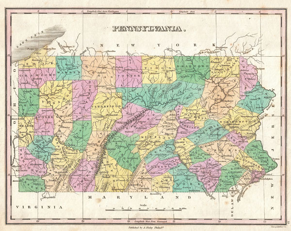 1827 Finley Map of Pennsylvania