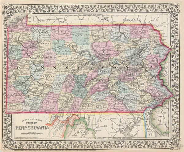 County map of the state of Pennsylvania. - Main View