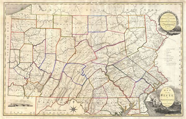 A Map of the State of Pennsylvania by Reading Howell MDCCCXI.