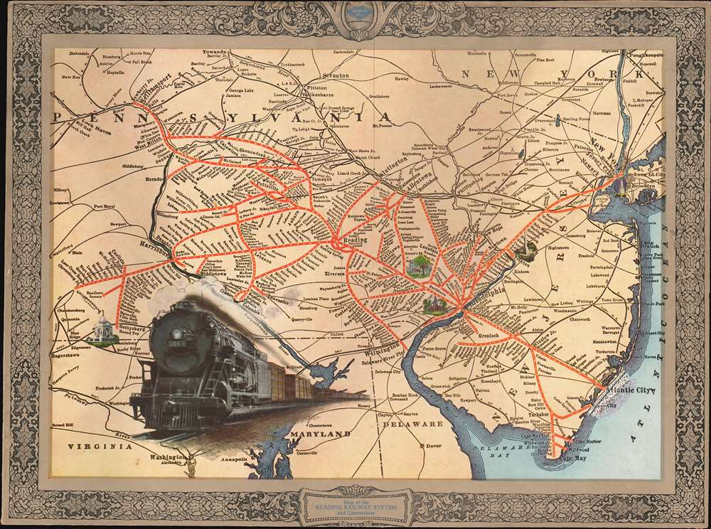 1925 Reading Railway Map of New Jersey and Pennsylvania