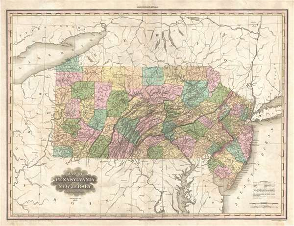 Map of Pennsylvania and New Jersey by H. S. Tanner.