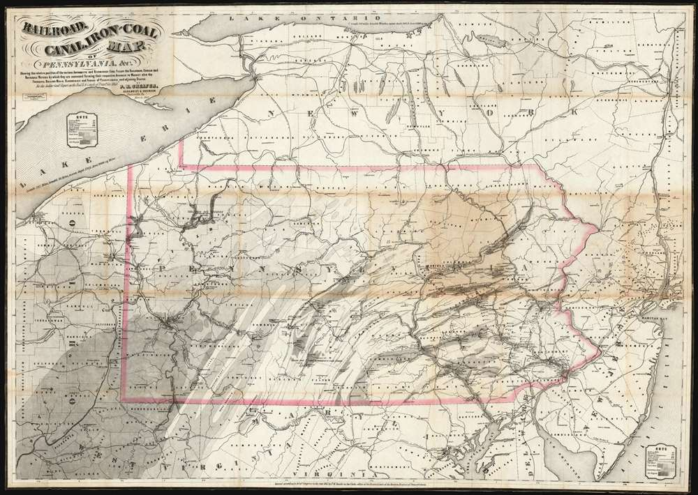 1869 Sheafer Map of Pennsylvania showing Railroads, Canals, Coal and Oil Fields