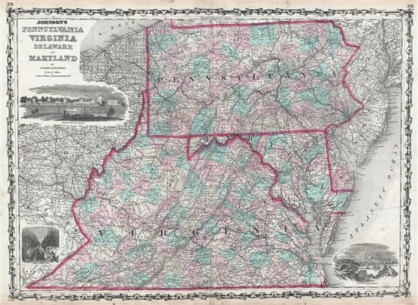 Johnson's Pennsylvania Virginia Delaware and Maryland. - Main View