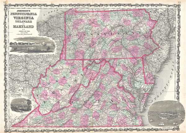 Johnson's Pennsylvania, Virginia, Delaware, and Maryland. - Main View
