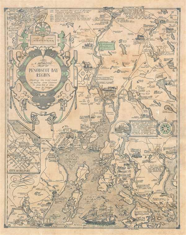 A Decorative Map Of Penobscot Bay Region Showing The Tidal Coast Of - Antique map of maine
