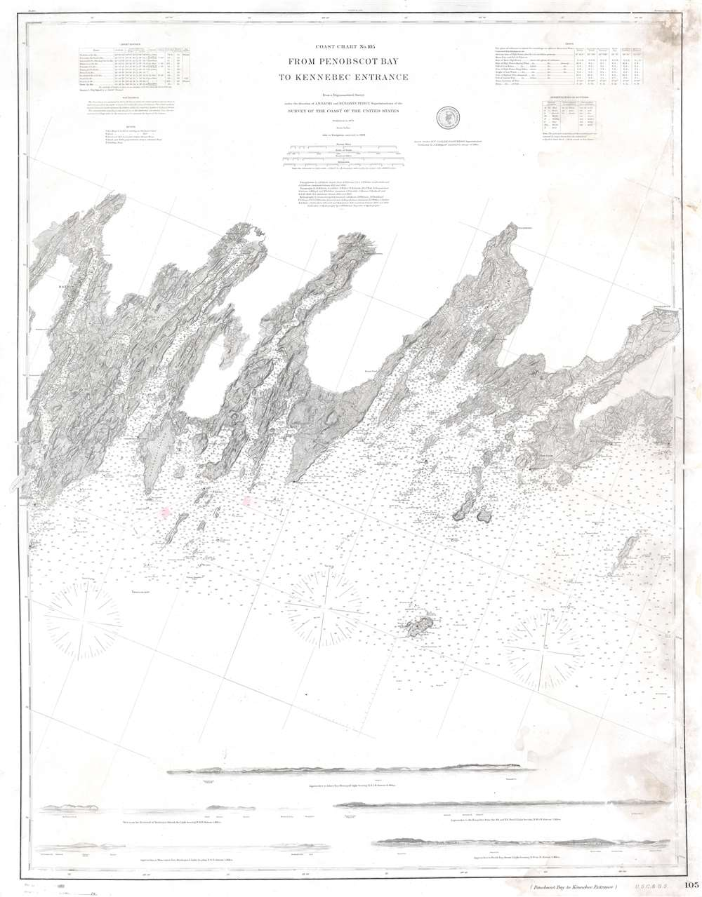 Coast Chart No. 105 From Penobscot Bay to Kennebec Entrance. - Main View