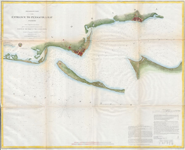 Preliminary Chart of the Entrance to Pensacola Bay, Florida. - Main View