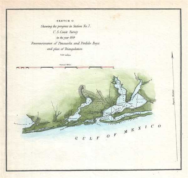 Sketch C Showing the progress in Section No. 7. Reconnoissance of Pensacola and Perdido Bays and plan of Triangulation.