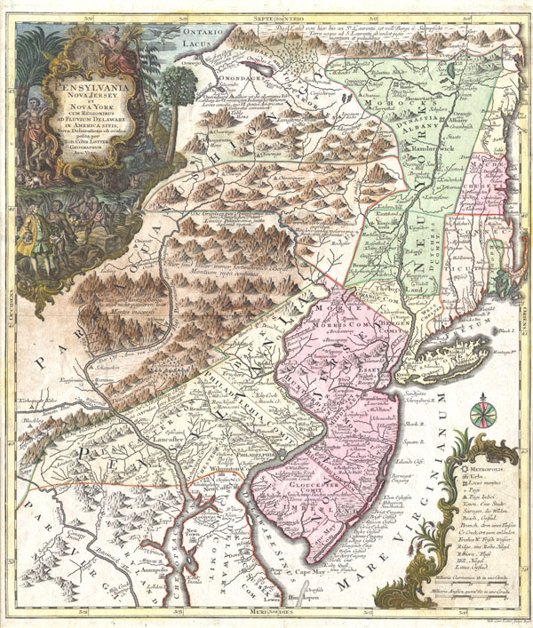 Pensylvania Nova Jersey et Nova York cum Regionibus Ad Fluvium Delaware In America Sitis, Nova Delinatione ob oculos posita . . .