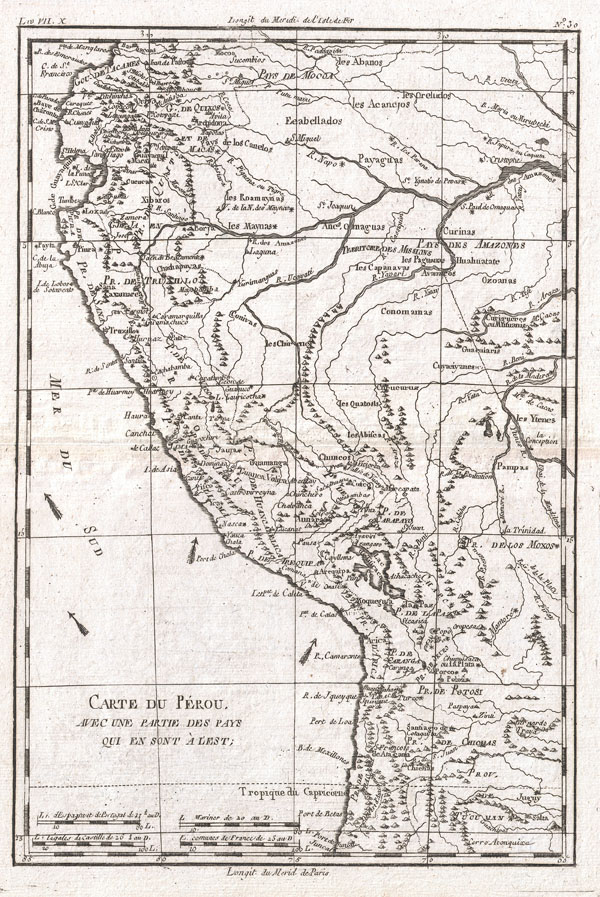 1780 Raynal and Bonne Map of Peru