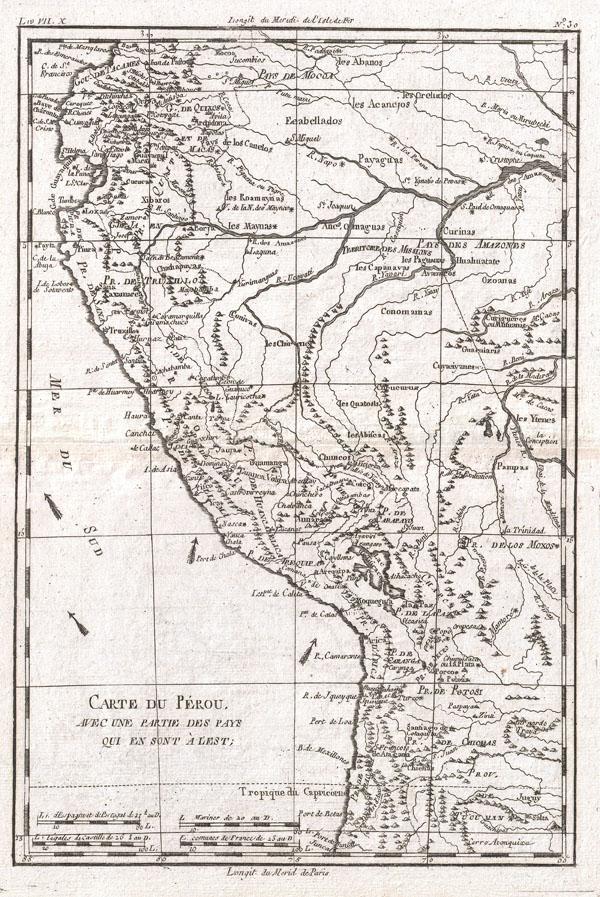 Carte Du Perou, Avec Une Partie Des Pays Qui En Sont A L'Est.