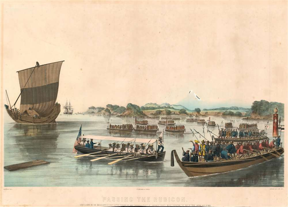 Passing the Rubicon. Lieut. S. Bent in the 'Mississippi's' First Cutter forcing  his way through a fleet of Japanese boats while surveying the Bay of Yedo, Japan, July 11th, 1853. - Main View