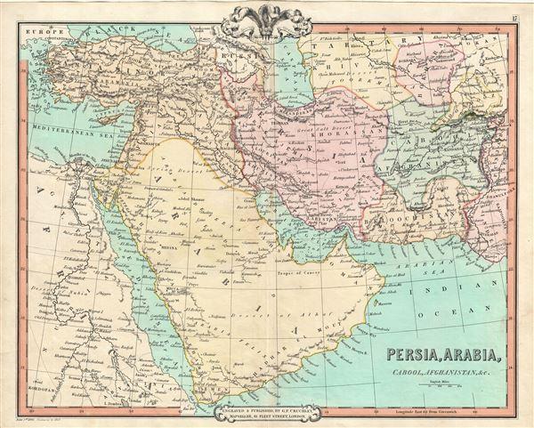 Persia Arabia Cabool Afghanistan Etc Geographicus Rare Antique